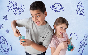 a boy and a girl playing with blue slime in a cup